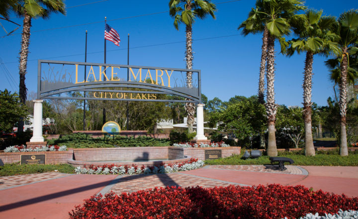 Entrance display to City of Lake Mary, Florida