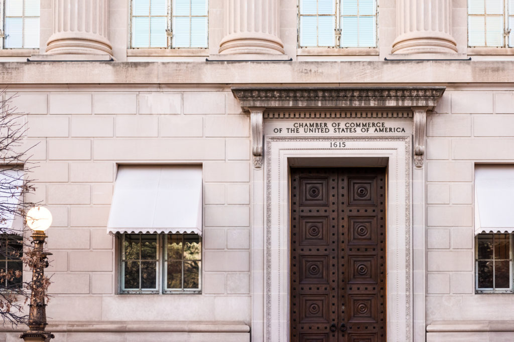 United States Chamber of Commerce building with sign and entrance